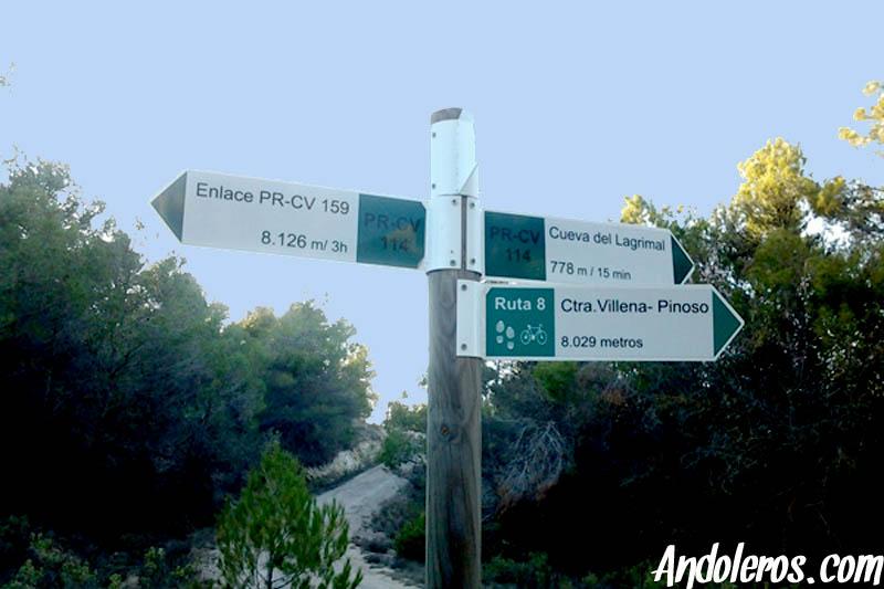 PR-CV 114 poste de inicio ruta
