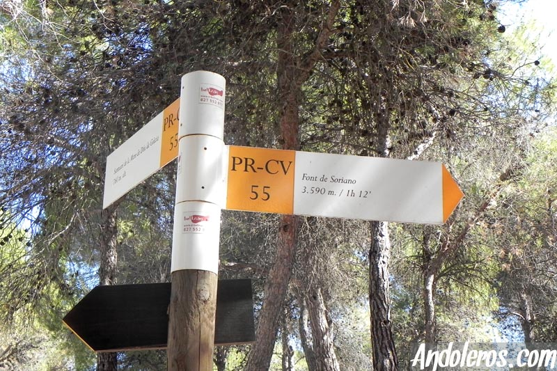 PR-CV 55 en dirección a la Font de Soriano